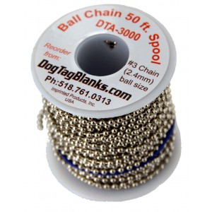 2.4mm Ball Chain Spool 50 ft.
